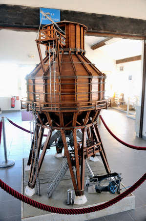 fall arrest: Model of a salt silo once used to load trucks to transport salt and used in corporate saline Aigues-Mortes in Camargue.