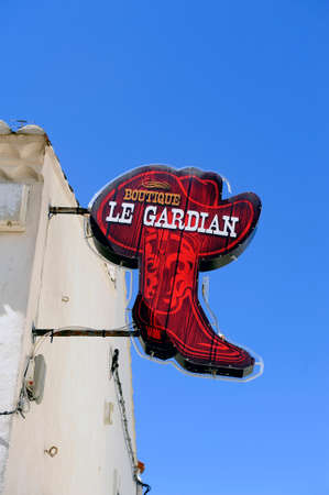 gardian: shop The Guardian in Saintes-Maries-de-la-Mer in the Camargue, specializing in leather goods, boots, hats and other Accessories.