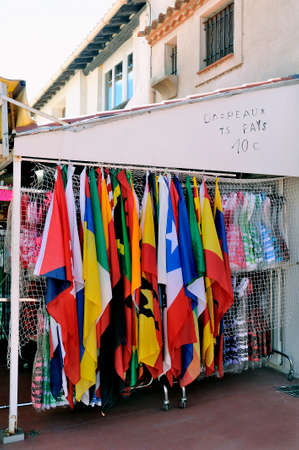 Shop at Saintes-Maries-de-la-Mer that sells flags of all countries of the world.