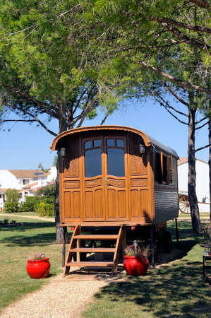 gypsy caravan used as decoration in France in Saintes-Maries-de-la-Mer in a property. Editorial