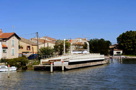 southeast europe: One of the latest mobile bridge in Europe in Aigues-Mortes in the heart of the Camargue in the south-east of France. Stock Photo
