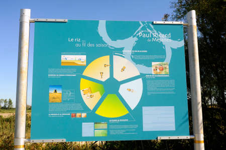 Signaling on the way Vaccar?s Camargue explaining hikers rice cultivation and the history of this local agriculture.