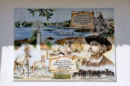 gardian: On the field Mejanes, tourism and natural place of the Camargue, a fresco in homage to Frederic Mistral, a French writer from the region and died in 1914. Editorial