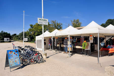 rentals: On the field Mejanes, tourism and natural place of the Camargue, the gift shop and bike rentals for tourists. Editorial