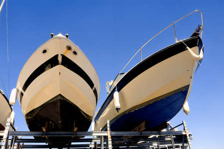 wintering: company of guarding and storage of boats season except for the pleasure Stock Photo