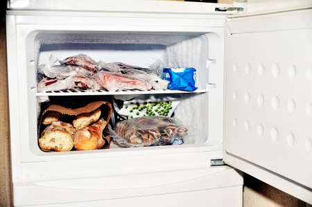 refrigerator: Freezer compartment of a refrigerator Containing meat and frozen vegetables as well as bread