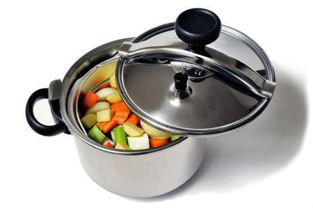 Pressure cooker stainless steel French-made for cooking food in steam photo