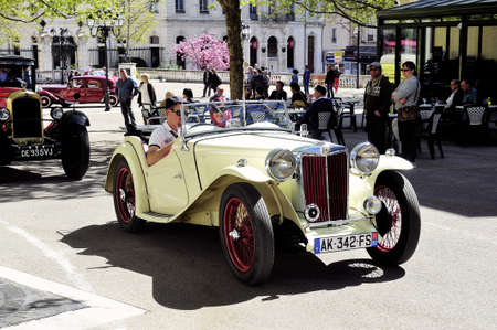 MG sports car in 1953 years photographed the rally of vintage cars Town Hall Square in the town of Ales Editöryel