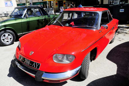 Panhard PL17 manufactured in 1959 photographed the rally of vintage cars Town Hall Square in the town of Ales, in the Gard department