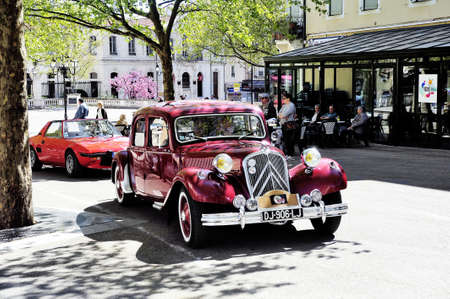 town hall square: Citroen front-wheel Drive red photographed vintage car rally Town Hall Square in the town of Ales Editorial