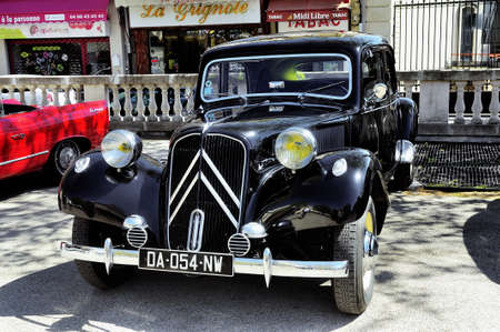 traction: Citroen front-wheel Drive black photographed vintage car rally Town Hall Square in the town of Ales