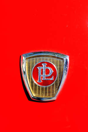 Panhard brand on the hood of a PL17 manufactured in 1959 photographed the rally of vintage cars Town Hall Square in the town of Ales, in the Gard department