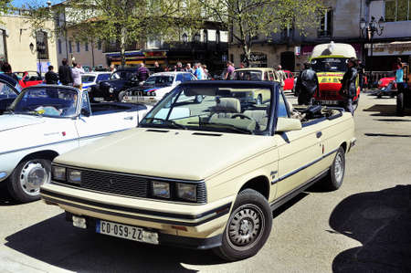 Renault Alliance reserved for the North American market and built between 1983 and 1987 photographed the rally of vintage cars Town Hall Square in the town of Ales