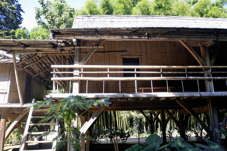 bamboo house: bamboo house in the park Anduze bamboo where almost all species are represented and promoted in an Asian garden Stock Photo
