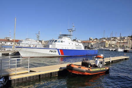 coastguard: Ship of the French coastguard dock in the old port of Marseille