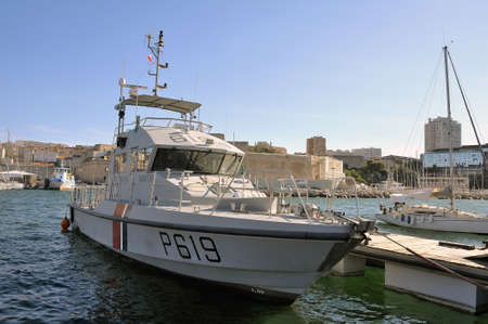border patrol: Ship of the French coastguard dock in the old port of Marseille