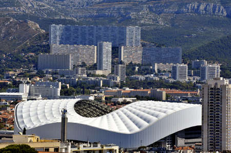 cited: Aerial view of Marseille to the northern districts with the cycling stadium and cited the Castellane background Editorial