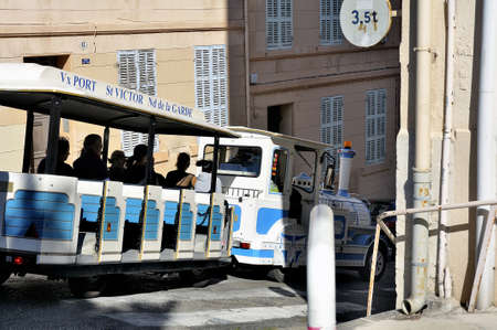 our lady: The small Marseille tourist train that goes to the Basilica of Our Lady of the Guard by small steep streets