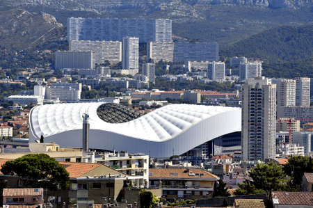 cited: Aerial view of Marseille to the northern districts with the cycling stadium and cited the Castellane background Stock Photo