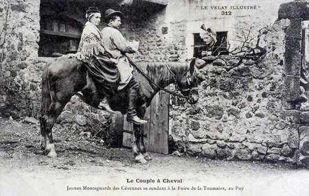 old postcard: old postcard, the couple on horseback