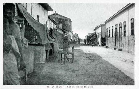 old postcard: old postcard of Djibouti, Indian Village street Editorial