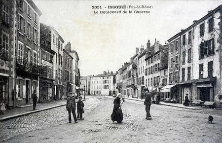 old postcard: old postcard, Issoire, Boulevard of the barracks