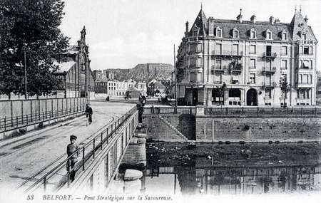 belfort: old postcard of Belfort, stategic bridge Tasty