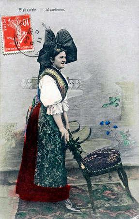 old postcard: old postcard of Alsatian