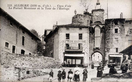 old postcard: old postcard of Allegre, the clock tower
