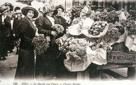 postal: old postcard of Nice, flowers market