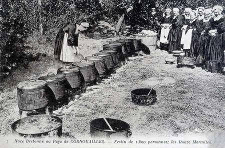 old postcard: old postcard, Breton wedding Editorial
