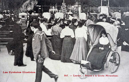 old postcard, Lourdes, pray to the miraculous grotto