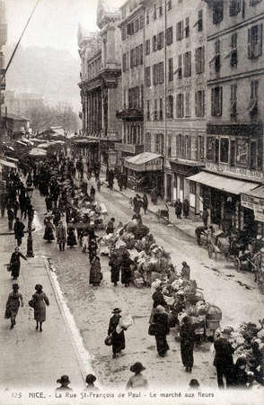 postal: old postcard of Nice, the Flowers market