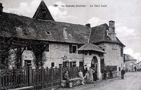 old postcard: old postcard of Lonzac, old house Editorial
