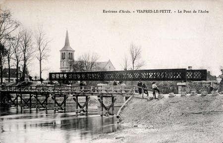 old postcard: old postcard of Viapres-le-Petit, Bridge the Aube