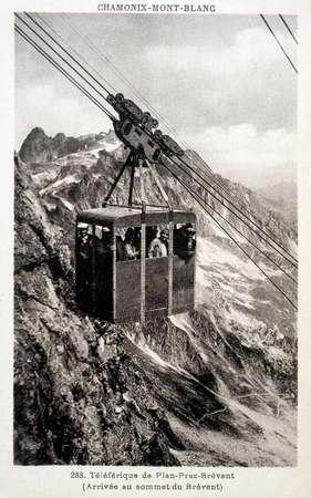old postcard: old postcard of Plan-Praz-Brevent, cable car