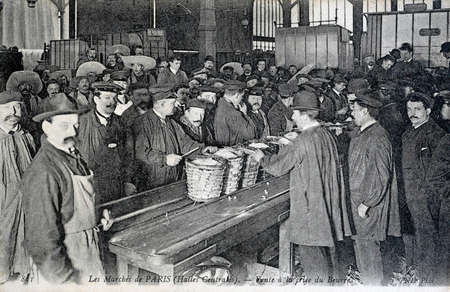 old postcard: old postcard, Paris markets, central markets Editorial