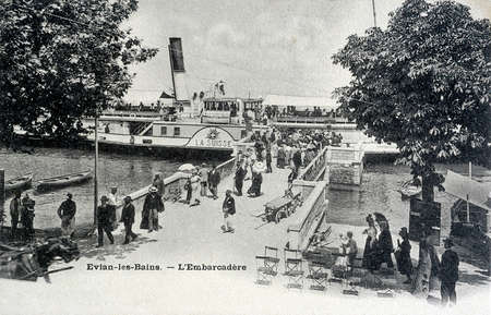 old postcard: old postcard of Evian, the pier Editorial