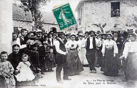 old postcard: old postcard, The Village feast
