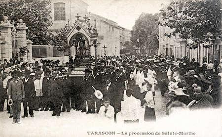 martha: old postcard of Tarascon, the procession of Saint Martha