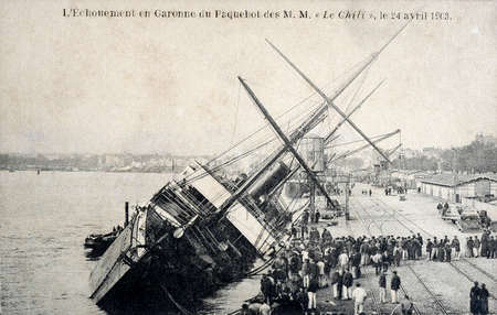 grounding: old postcard The grounding in the ship Garonne Chile
