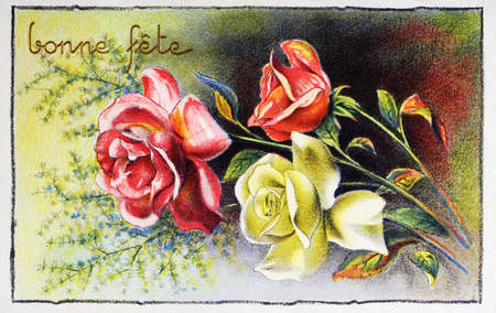 old postcard with a bouquet of roses to wish happy feast