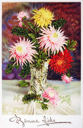 happy feast: old postcard with a bouquet of flowers to wish happy feast Stock Photo