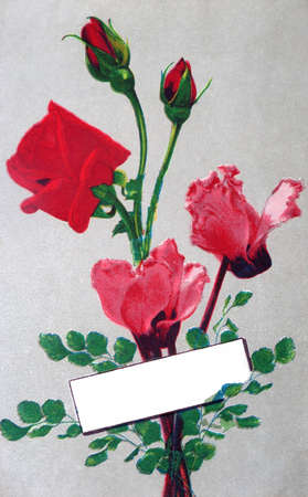 occasions: old postcard for roses for all occasions Stock Photo