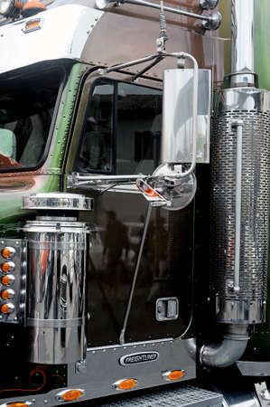 trucker: Big rich American truck personalized presentation to a gathering of American motorcycles in Beaucaire in the French department of Gard Editorial