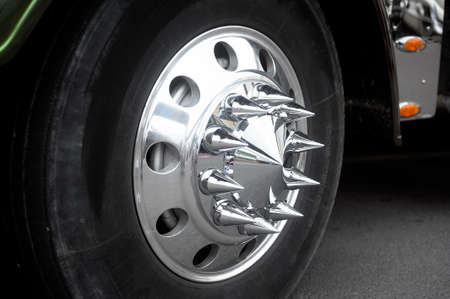 trucker: Wheel with chrome tips of a big American truck exhibits at a gathering of American motorcycles in Beaucaire in the French department of Gard