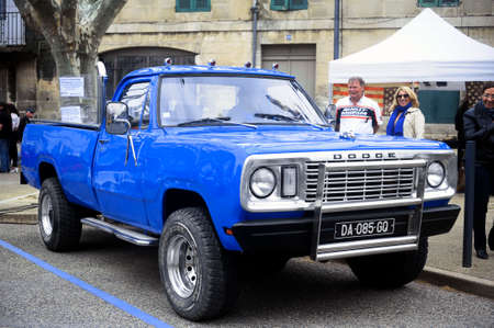 dodge: A big Dodge pickup to a gathering of American motorcycles in Beaucaire in the French department of Gard Editorial