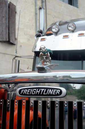 freightliner: Big rich American truck personalized presentation to a gathering of American motorcycles in Beaucaire in the French department of Gard Editorial