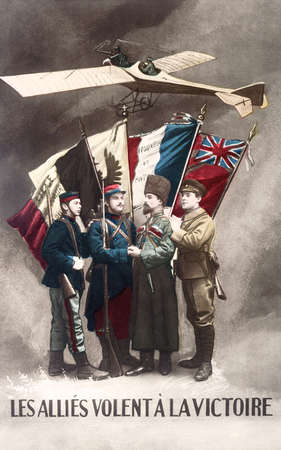 allies: Reproduction of an old postcard of the allies of France in the War of 1914, the alliers fly to victory