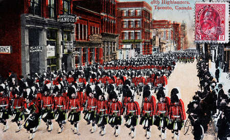 highlanders: Reproduction of an old postcard of a parade of the 48th Highlanders in Canada in Toronto